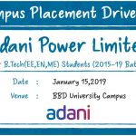 Campus Placement Drive of Adani Power Ltd. for B.Tech (ME) Students on 15th January 2019