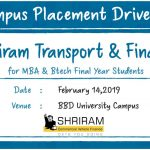 Campus Placement Drive of Shriram Transport & Finance for MBA and B.Tech Students on 14th Feb 2019