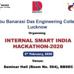 "Internal ""SMART INDIA HACKATHON-2020"" organized under Ministry of HRD initiative on 5th February, 2020."