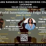 "Webinar Series on the occasion of ""World International Yoga Day"" by Value Education Cell, BBDEC."