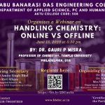 "Department of Applied Science, PC & Humanities organized a webinar on ""Handling Chemistry: Online vs Offline""."