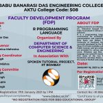"""Department of Computer Science & Engineering is organizing Faculty Development Program(FDP) on """"R Programming Language """"in collaboration with Spoken Tutorial Project, IIT Bombay."""