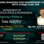 "Department of Computer Science & Engineering is organizing a webinar on ""Data Analytics""."